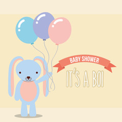 blue rabbit holding balloons baby shower boy card