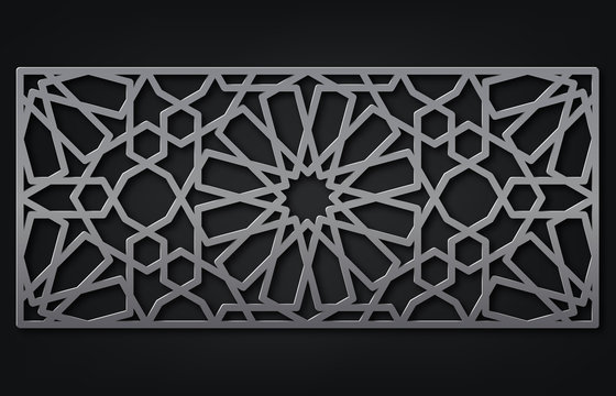 Template for laser cutting. Decorative panel with oriental geometric pattern.