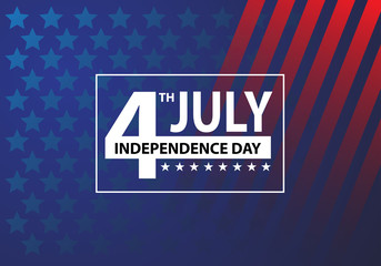 4th July Independence day white number text frame celebration holiday background vector illustration.