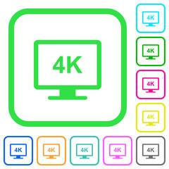 4K display vivid colored flat icons