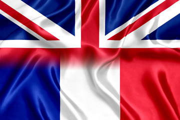 Flag of France and Britain silk