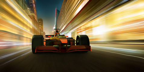 Sport racing car fast driving to achieve the champion dreame , motion blur and lighting effect apply . 3D rendering and mixed media composition .