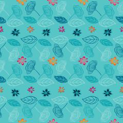 Floral light blue background seamless pattern.