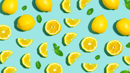 Photo Blinds Fruits Fresh lemon pattern on a bright color background flat lay