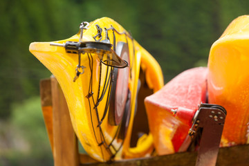 Many kayaks canoes outdoor