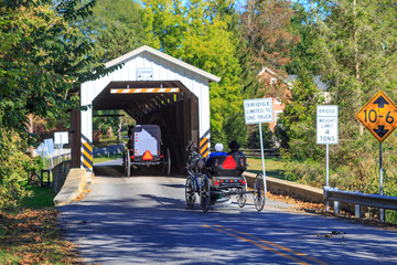 Amish Buggies at Strasburg Covered Bridge