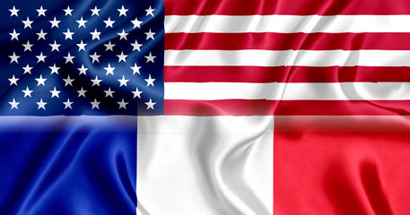 Flag of USA and France silk