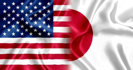 US flag and Japan silk