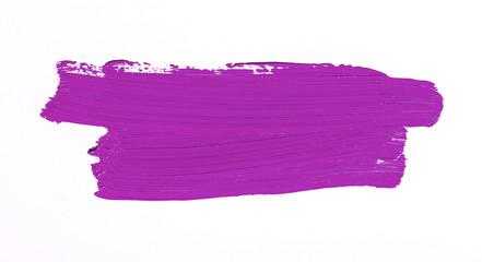 Purple brush stroke over white background