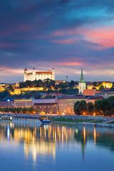 Fototapete - Bratislava. Cityscape image of Bratislava, capital city of Slovakia during twilight blue hour.