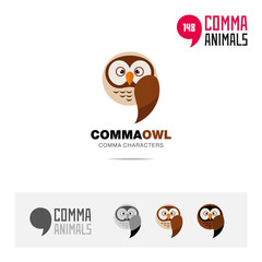 Owl bird concept icon set and modern brand identity logo template and app symbol based on comma sign