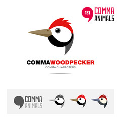 Woodpecker bird concept icon set and modern brand identity logo template and app symbol based on comma sign