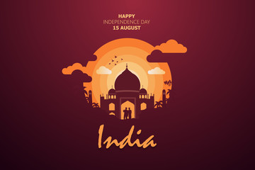 Happy Independence Day of India for 15th August. Famous monument of India in Indian background. Vector illustration EPS10 Fotomurales