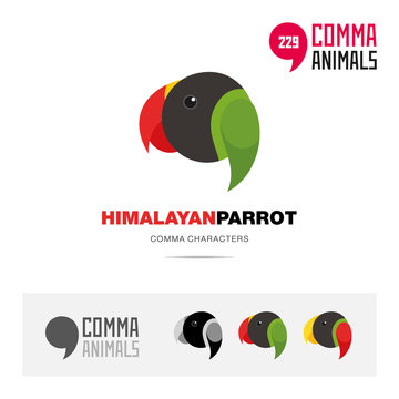Himalayan parrot bird concept icon set and modern brand identity logo template and app symbol based on comma sign