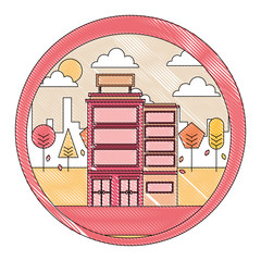 buildings hotel with cityscape isolated icon vector illustration design