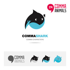 Shark animal concept icon set and modern brand identity logo template and app symbol based on comma sign