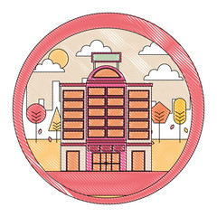 building hotel with cityscape isolated icon vector illustration design