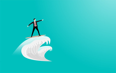 Businessman surfing on surfboard as waves to goal success