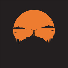 Silhouette the man of mountain on the sun