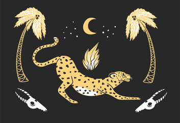 leopard among palm trees, fire and skulls