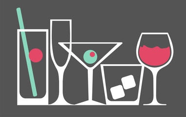 set of different glasses for cocktails, poster