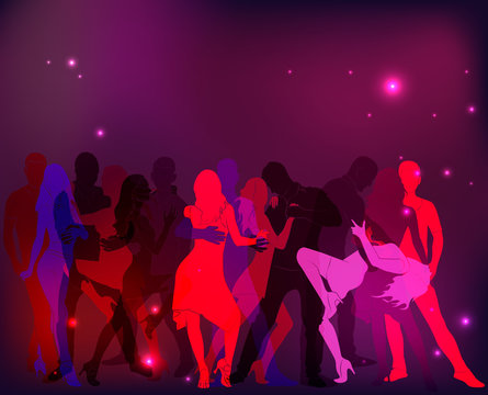 Latino Dance Party. Silhouettes of couples.