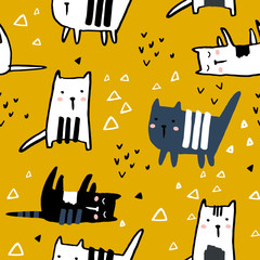 Seamless pattern with hand drawn cats and geometric shapes. Creative childish texture. Great for fabric, textile Vector Illustration