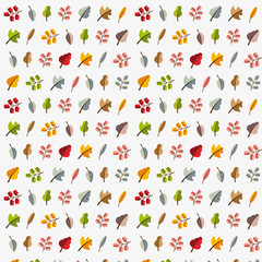 Vector autumn template. Modern stylized colorful leafs.