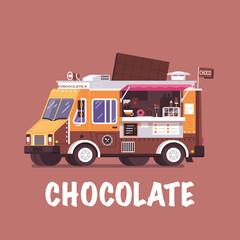 Retro chocolate truck in flat design. City street food van with choco bar. Summer auto kiosk in flat design. Cartoon car with food on wheels. Vintage cartoon minivan with sweets and coffee.