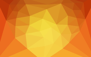 Light Orange vector triangle mosaic cover with a heart in a centre.
