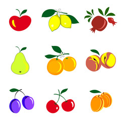 Fruits and berries colored icons collection. Set of fruits are apple, lemon, pomegranate, pear, orange, peach, plum, cherry, apricot. Vector illustration isolated on white.