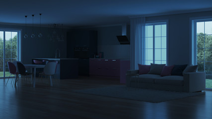Modern house interior. Pink kitchen. Night. Evening lighting. Artificial light sources. 3D rendering.