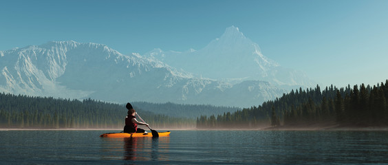 Man with canoe on the lake.