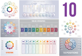 Set 8 universal templates elements Infographics conceptual cyclic processes for 10 positions possible to use for workflow, banner, diagram, web design, timeline, area chart,number options.