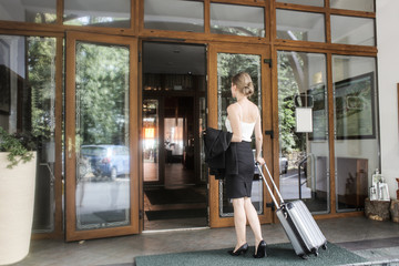 Businesswoman travelling for work