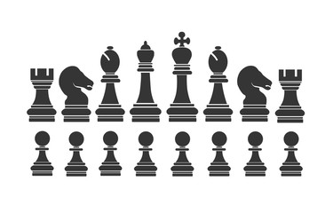 black chess on flat styles on white background