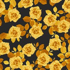 Golden roses seamless pattern