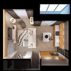 3d render interior design of the apartments is in Scandinavian