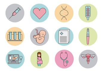 16 Colorful Reproductive Health Icons