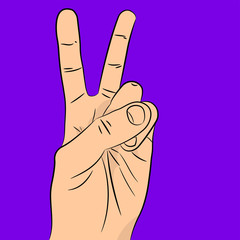 Peace and victory hand sign. gestures of hands. vector illustration.