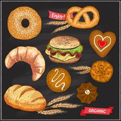 Assorted pastry set illustration on a chalkboard