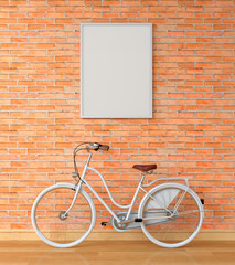 Blank photo frame for mockup on wall and white bicycle, 3D rendering