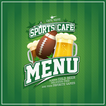 Sports cafe menu design, rugby ball and glasses of beer