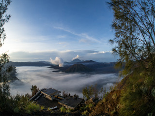INDONESIA - Bromo Mountain is an active volcano. Landscape view of Bromo mountain with fog around the valley from Penanjakan viewpoint at Bromo Tengger Semeru National Park , East Java, november, 2017
