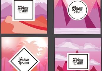 4 Pink Nature Layouts