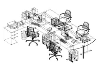 Office Design Architect Blueprint - isolated