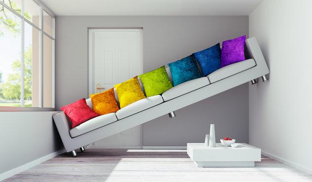 Sofa mit bunten Kissen in engem Raum