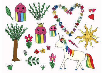 Rainbow unicorn and funny cupcakes friends. Bright funny kit on white background