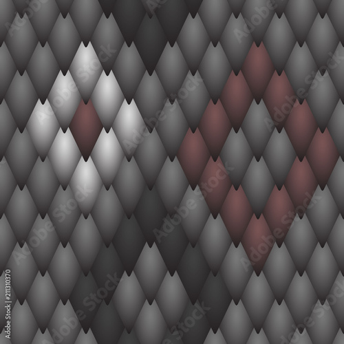 Seamless textured black scales of a snake, fish, dragon or