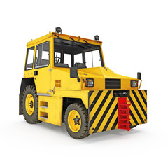 Airport Yellow Push Back Tractor on white. 3D illustration